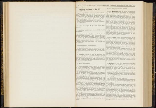 Raadsverslagen van de gemeente Leeuwarden, 1865-2007 (Notulen) 1921-06-14