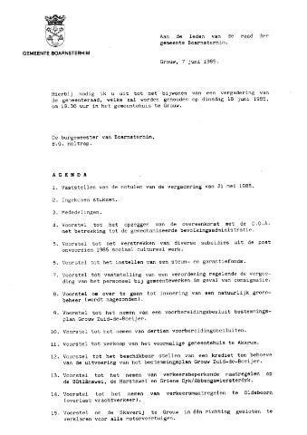 Boarnsterhim vergaderstukken gemeenteraad  1985-06-18