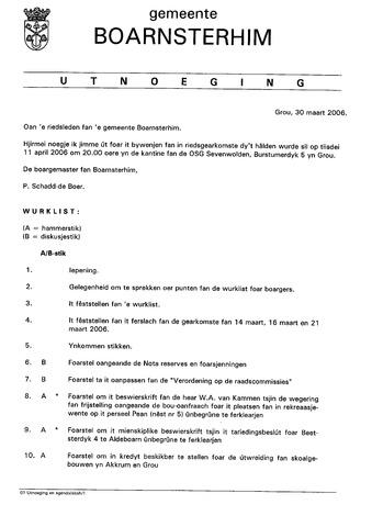 Boarnsterhim vergaderstukken gemeenteraad  2006-04-11