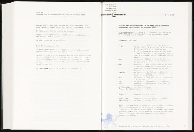 Raadsverslagen van de gemeente Leeuwarden, 1865-2007 (Notulen) 1999-12-14