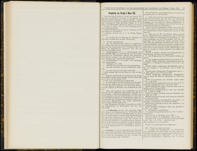 Raadsverslagen van de gemeente Leeuwarden, 1865-2007 (Notulen) 1915-03-09