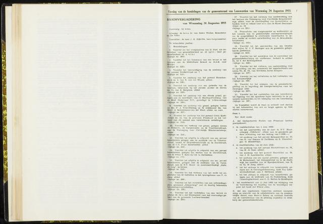 Raadsverslagen van de gemeente Leeuwarden, 1865-2007 (Notulen) 1955-08-24