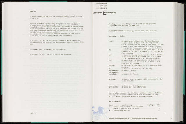 Raadsverslagen van de gemeente Leeuwarden, 1865-2007 (Notulen) 1996-05-20