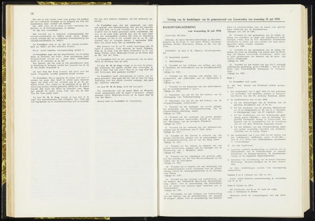 Raadsverslagen van de gemeente Leeuwarden, 1865-2007 (Notulen) 1958-07-16