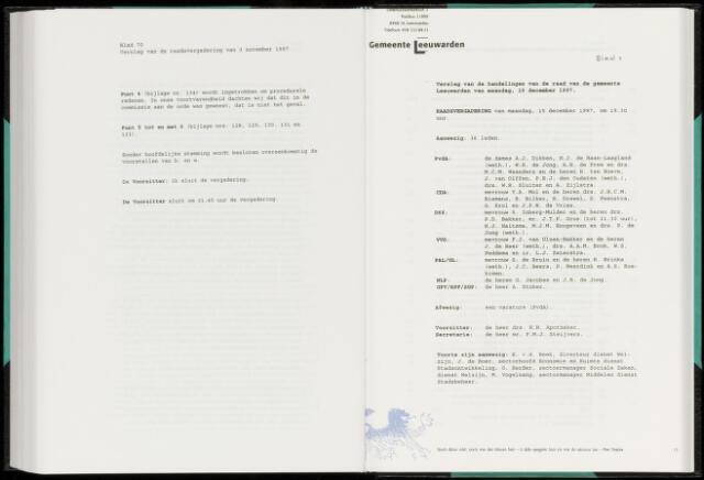 Raadsverslagen van de gemeente Leeuwarden, 1865-2007 (Notulen) 1997-12-15