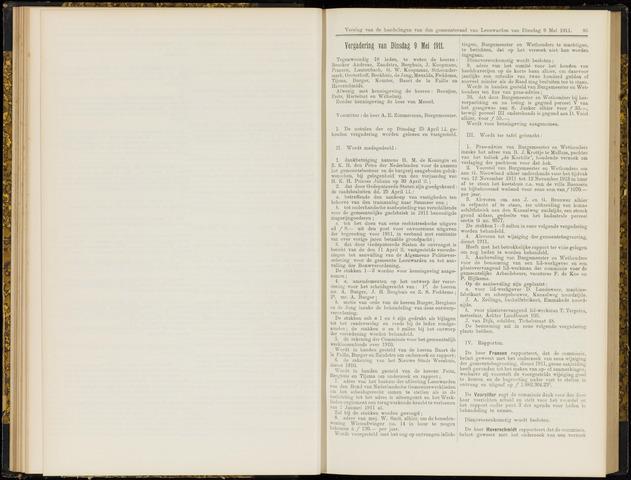 Raadsverslagen van de gemeente Leeuwarden, 1865-2007 (Notulen) 1911-05-09