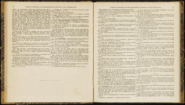 Raadsverslagen van de gemeente Leeuwarden, 1865-2007 (Notulen) 1874-02-26