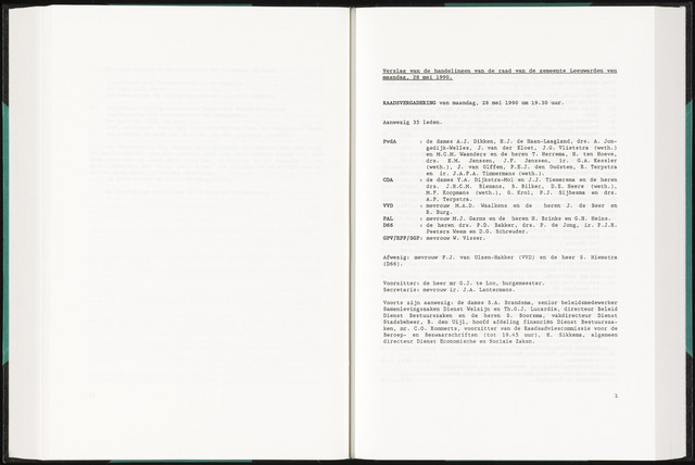 Raadsverslagen van de gemeente Leeuwarden, 1865-2007 (Notulen) 1990-05-28