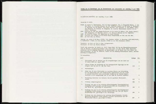 Raadsverslagen van de gemeente Leeuwarden, 1865-2007 (Notulen) 1986-06-02