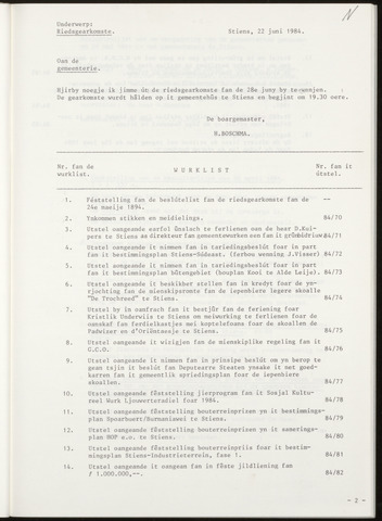 Notulen van de gemeenteraad van Leeuwarderadeel 1984-06-28