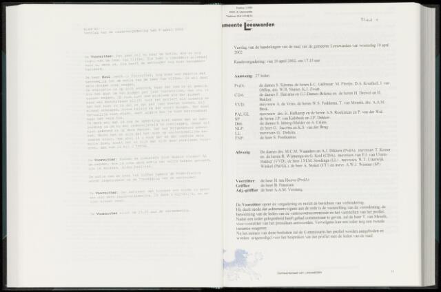 Raadsverslagen van de gemeente Leeuwarden, 1865-2007 (Notulen) 2002-04-10