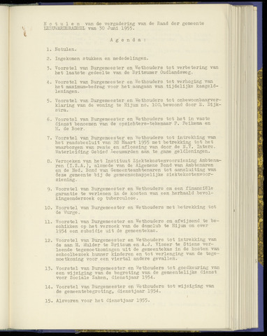 Notulen van de gemeenteraad van Leeuwarderadeel 1955-06-30