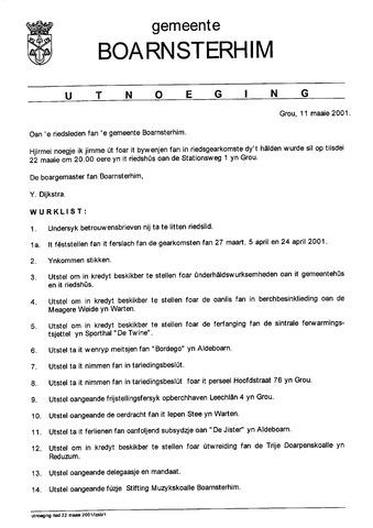 Boarnsterhim vergaderstukken gemeenteraad  2001-05-22