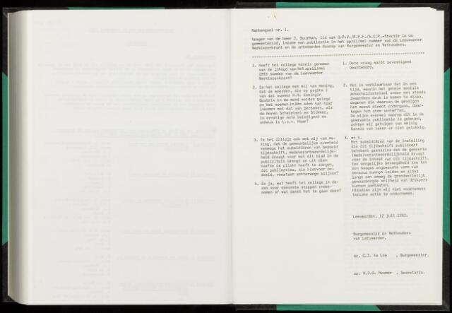 Raadsverslagen van de gemeente Leeuwarden, 1865-2007 (Schriftelijke vragen) 1983-01-01