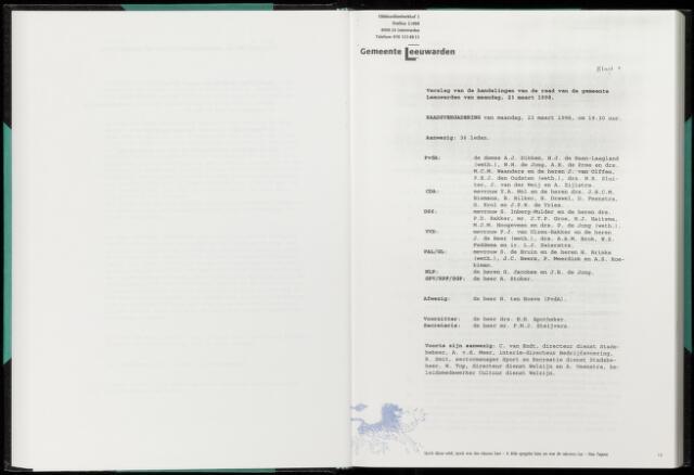 Raadsverslagen van de gemeente Leeuwarden, 1865-2007 (Notulen) 1998-03-23
