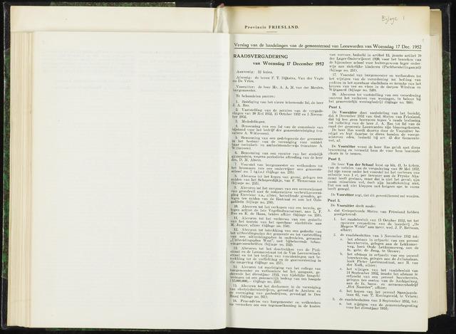 Raadsverslagen van de gemeente Leeuwarden, 1865-2007 (Notulen) 1952-12-17