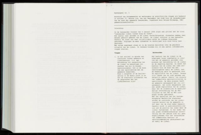 Raadsverslagen van de gemeente Leeuwarden, 1865-2007 (Schriftelijke vragen) 2000