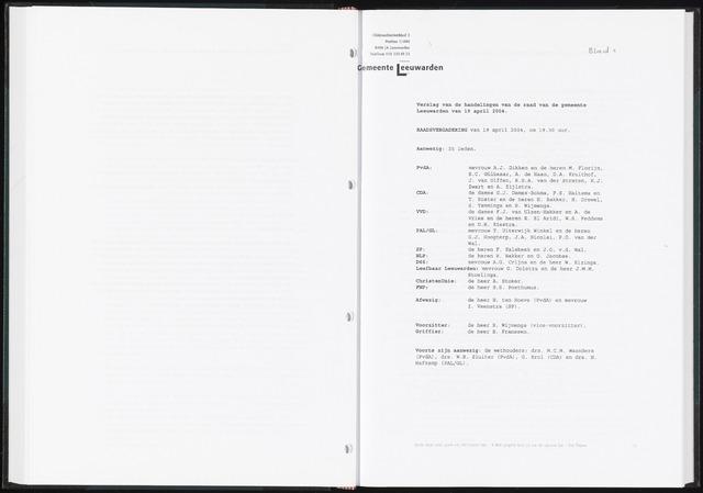 Raadsverslagen van de gemeente Leeuwarden, 1865-2007 (Notulen) 2004-04-19