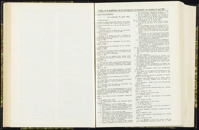 Raadsverslagen van de gemeente Leeuwarden, 1865-2007 (Notulen) 1962-04-25