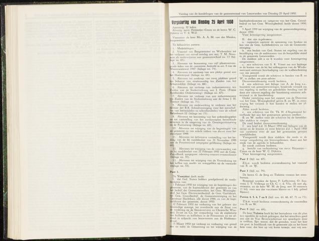 Raadsverslagen van de gemeente Leeuwarden, 1865-2007 (Notulen) 1950-04-25