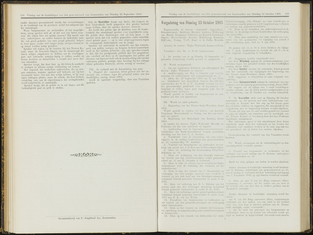 Raadsverslagen van de gemeente Leeuwarden, 1865-2007 (Notulen) 1903-10-13