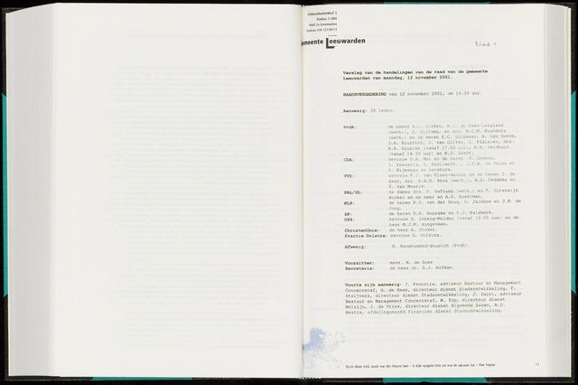 Raadsverslagen van de gemeente Leeuwarden, 1865-2007 (Notulen) 2001-11-12
