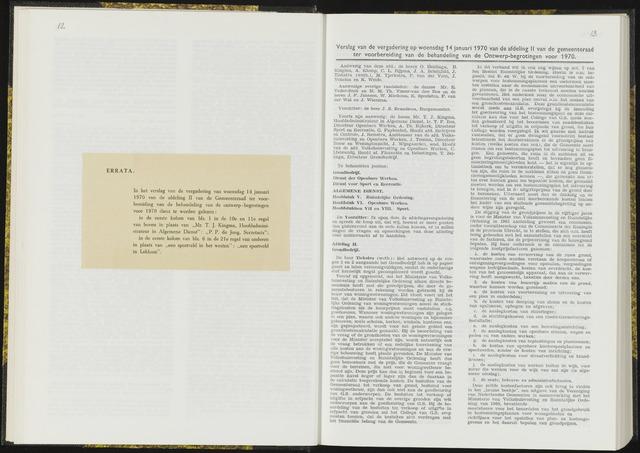 Raadsverslagen van de gemeente Leeuwarden, 1865-2007 (Notulen) 1970-01-14