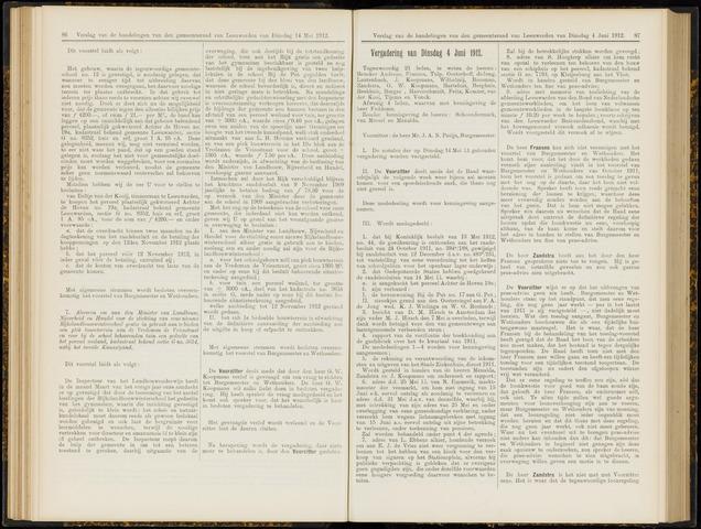 Raadsverslagen van de gemeente Leeuwarden, 1865-2007 (Notulen) 1912-06-04