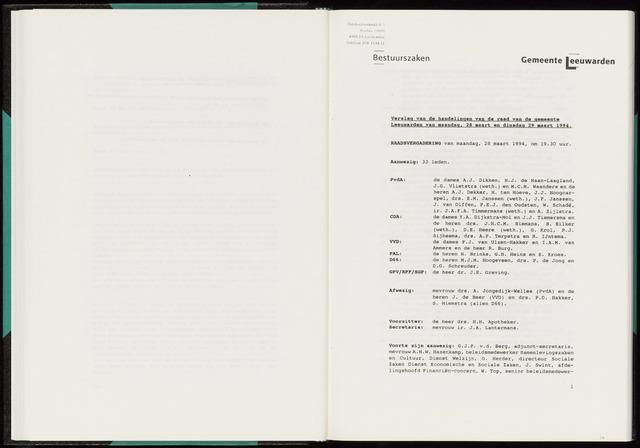 Raadsverslagen van de gemeente Leeuwarden, 1865-2007 (Notulen) 1994-03-28