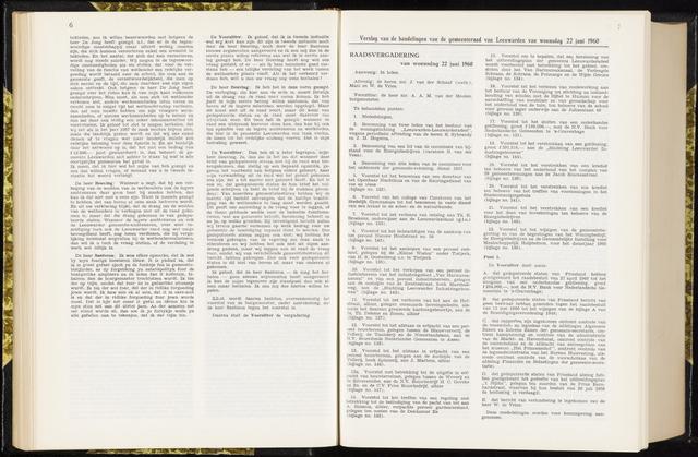 Raadsverslagen van de gemeente Leeuwarden, 1865-2007 (Notulen) 1960-06-22