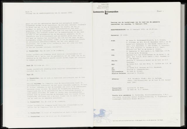 Raadsverslagen van de gemeente Leeuwarden, 1865-2007 (Notulen) 2002-02-11