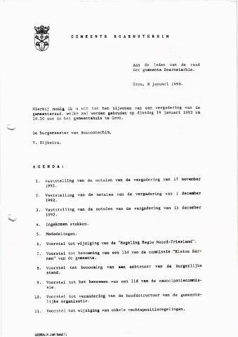 Boarnsterhim vergaderstukken gemeenteraad  1993-01-19