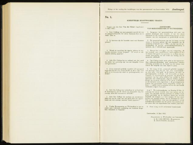 Raadsverslagen van de gemeente Leeuwarden, 1865-2007 (Schriftelijke vragen) 1932-01-01