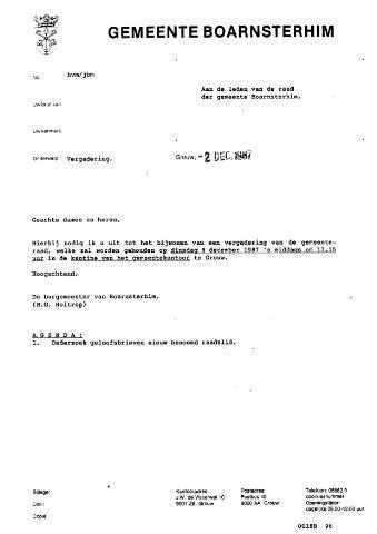 Boarnsterhim vergaderstukken gemeenteraad  1987-12-08