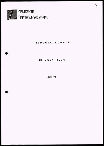 Notulen van de gemeenteraad van Leeuwarderadeel 1994-07-21