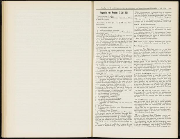 Raadsverslagen van de gemeente Leeuwarden, 1865-2007 (Notulen) 1938-07-13