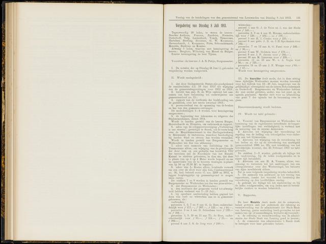 Raadsverslagen van de gemeente Leeuwarden, 1865-2007 (Notulen) 1913-07-08