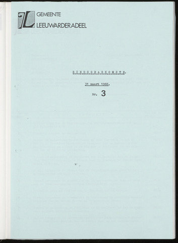 Notulen van de gemeenteraad van Leeuwarderadeel 1988-03-31