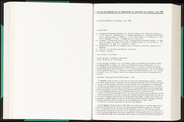 Raadsverslagen van de gemeente Leeuwarden, 1865-2007 (Notulen) 1982-05-03