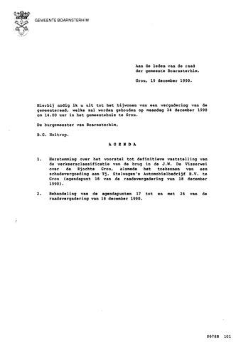 Boarnsterhim vergaderstukken gemeenteraad  1990-12-24