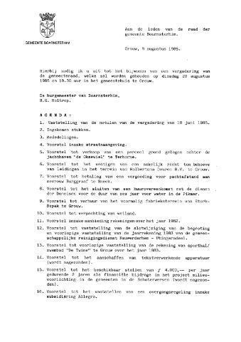 Boarnsterhim vergaderstukken gemeenteraad  1985-08-20
