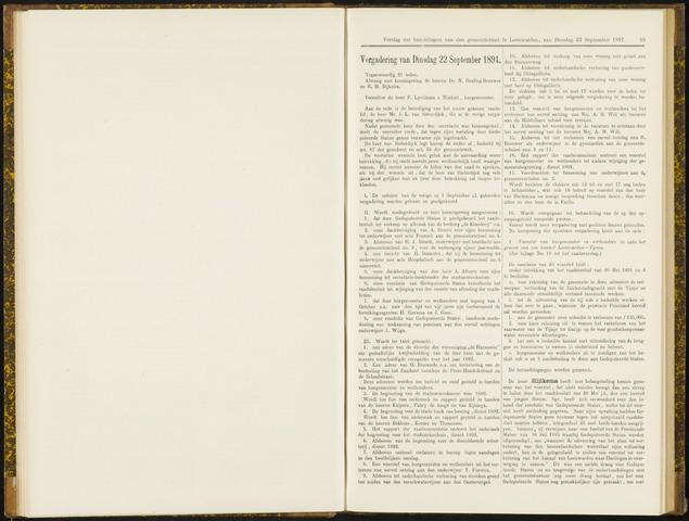 Raadsverslagen van de gemeente Leeuwarden, 1865-2007 (Notulen) 1891-09-22