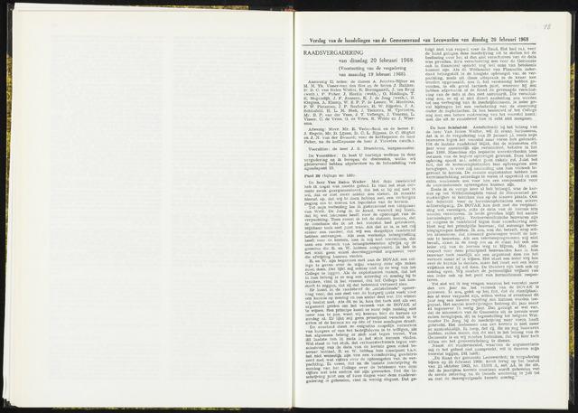 Raadsverslagen van de gemeente Leeuwarden, 1865-2007 (Notulen) 1968-02-20