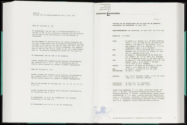 Raadsverslagen van de gemeente Leeuwarden, 1865-2007 (Notulen) 1997-06-26