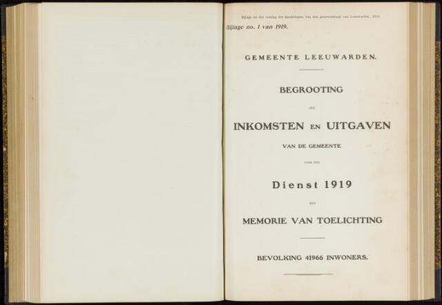 Raadsverslagen van de gemeente Leeuwarden, 1865-2007 (Bijlagen) 1919-01-01