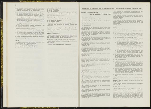 Raadsverslagen van de gemeente Leeuwarden, 1865-2007 (Notulen) 1956-02-08