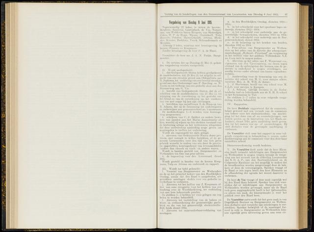 Raadsverslagen van de gemeente Leeuwarden, 1865-2007 (Notulen) 1915-06-08