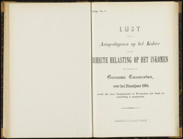 Raadsverslagen van de gemeente Leeuwarden, 1865-2007 (Bijlagen) 1894-01-01