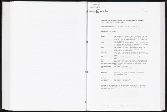 Raadsverslagen van de gemeente Leeuwarden, 1865-2007 (Notulen) 2003-10-06