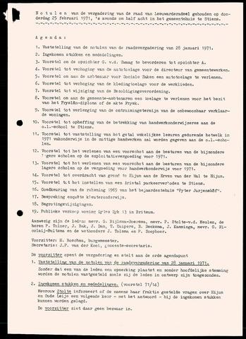 Notulen van de gemeenteraad van Leeuwarderadeel 1971-02-25